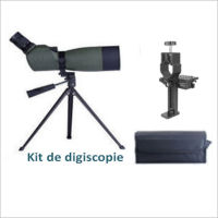 KIT Digiscopie DIGITAL OPTIC Longue vue 12-36x60 coudée à 45° (trépied et adaptateur photo)